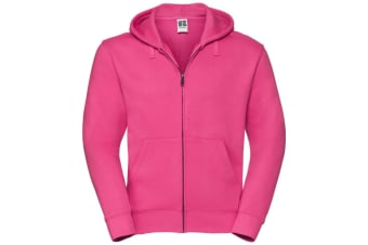 Russell Mens Authentic Full Zip Hooded Sweatshirt / Hoodie (Fuchsia) (S)