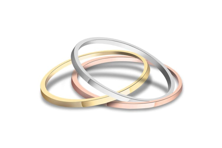 3 Pc Tri-Color Stackable Ring Set-Tri-Tone Gold Size US 7
