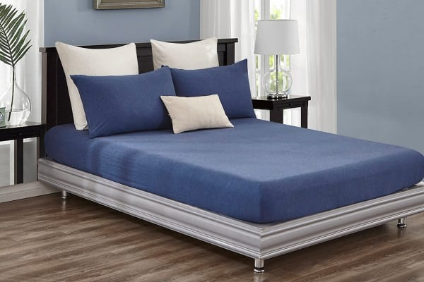 Gioia Casa Jersey Cotton Fitted Sheet (Queen/Blue Marble)
