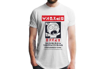 Rick And Morty Unisex Adults Alien Morty Wanted Poster T-Shirt (White)
