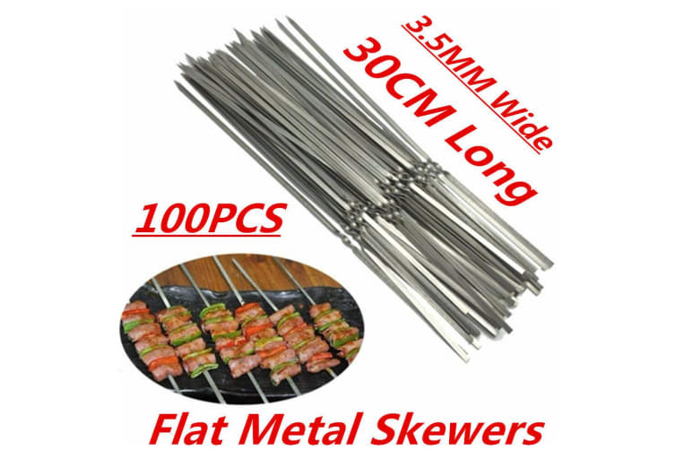 100 x Stainless Steel Barbecue Metal Skewers Flat Needle BBQ Kebab Stick 30CM