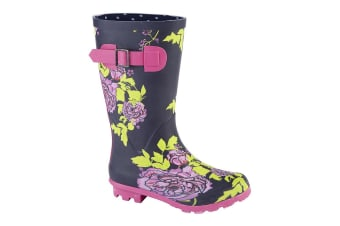 Woodland Girls High Leg Wellington Boot (Navy/Multicoloured)