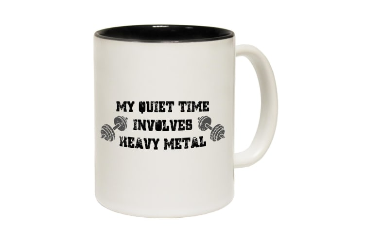 123T Funny Mugs - Swps My Quiet Time Heavy Metal - Black Coffee Cup