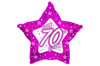 Creative Party Happy 70th Birthday Pink Star Balloon (Pink)