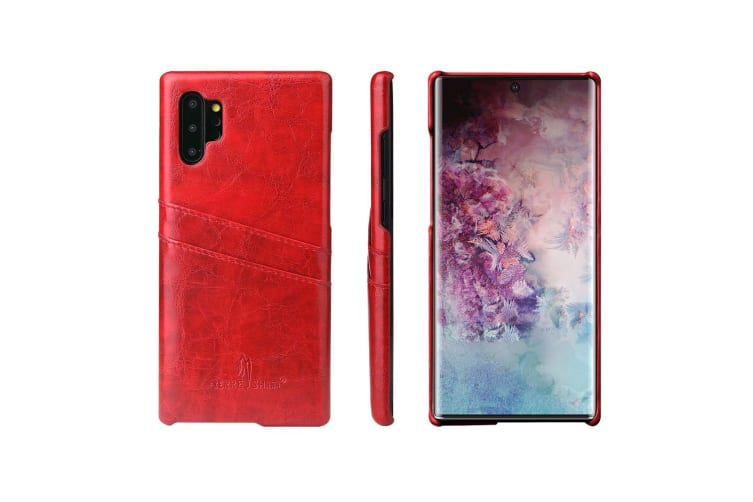 For Samsung Galaxy Note 10+ Plus Case Red Deluxe PU Leather Back Shell Cover