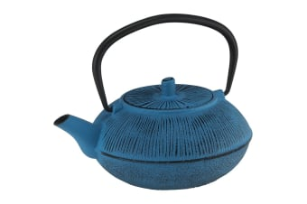 Avanti 800ml Straw Cast Iron Teapot w Removable S S Infuser Lid Tea Pot Blue