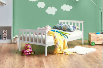 Shangri-La Kids Pine Bed (Single, White)