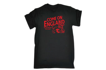 123T Funny Tee - Come On England - (Small Black Mens T Shirt)