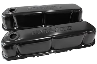 Aeroflow Ford V8 289 351 Windsor SBF Valve Cover Black With Aeroflow Logo