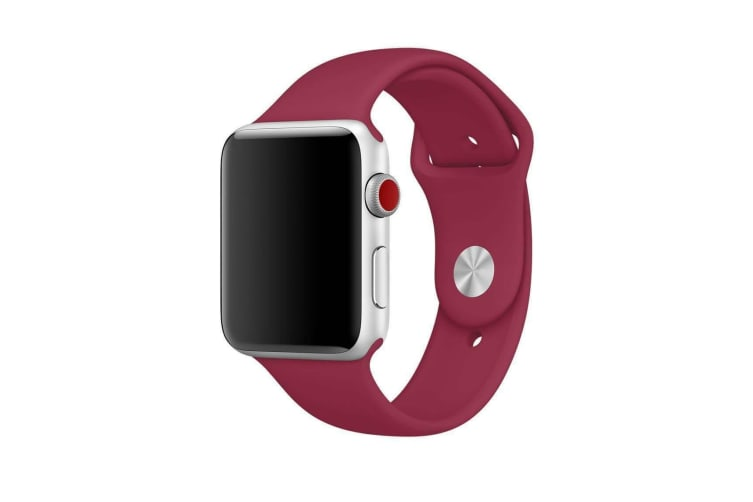 Apple Watch iWatch Series 1 2 3 4 5 Silicone Replacement Strap Band 38mm/40mm M/L size-Rose Red