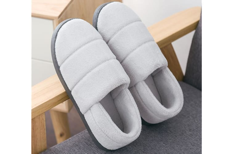 Unisex Cozy Knit Memory Foam Slippers Coral Velvet Lining Indoor House Shoes - Light Grey Grey 44-45