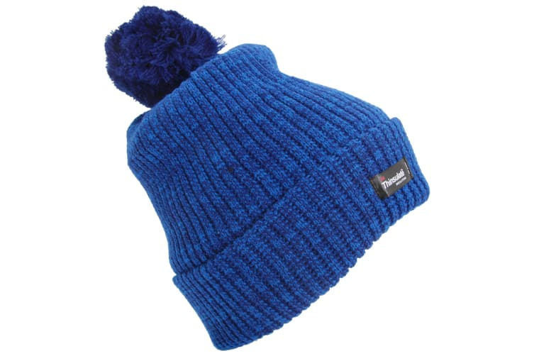 Womens/Ladies Thinsulate Pom Pom Thermal Winter Hat (3M 40g) (Blue) (One Size)