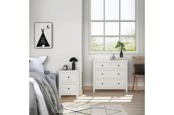 White Bedside Table Chest of Drawer Set Nightstand Lamp Side Dresser Tallboy New