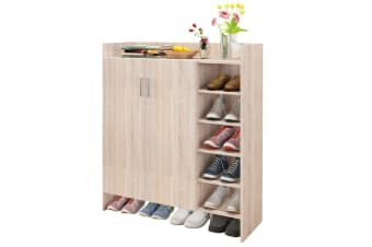 Modern Shoe Cabinet Rack Storage Cupboard Shelf Organiser with Doors 21 Pairs Oak