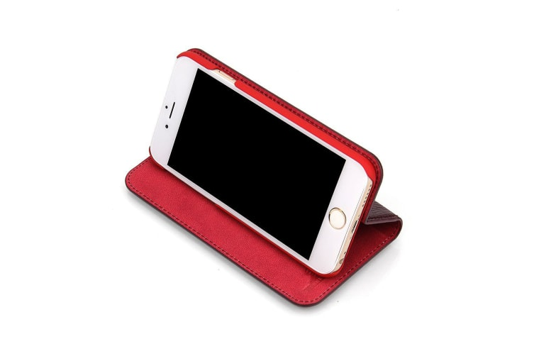 For iPhone 6S  6S PLUS Wallet Case Fierre Shann Toothpick Cow Leather Cover Red