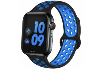 For Apple Watch Band Series 5 4 3 2 Sport Silicone iWatch Strap Band Wristband 38mm/40mm-Black Blue