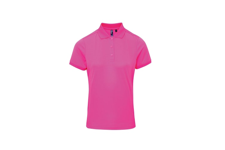 Premier Womens/Ladies Coolchecker Short Sleeve Pique Polo T-Shirt (Neon Pink) (M)