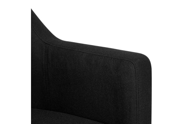 Square Backed Fabric Armchair (Black)