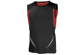 Spiro Mens Sports Athletic Vest Top (Black/Red) (M)