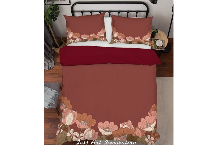 3D Red Background Flowers Pattern Quilt Cover Set Bedding Set Pillowcases 38-Single