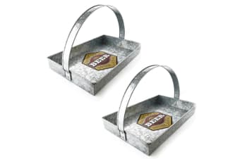 2x ThirstyStone 39cm Rectangular Beer Galvanized Serving Tray Carrier w  Handle
