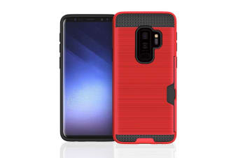 Red Brushed Card Slot Armoured For Samsung Galaxy S9 PLUS Case
