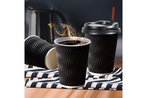 Image of 100x Black Disposable Coffee Cups 12oz Multi Sets