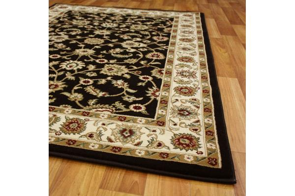 Classic Rug Black with Ivory Border 150x80cm