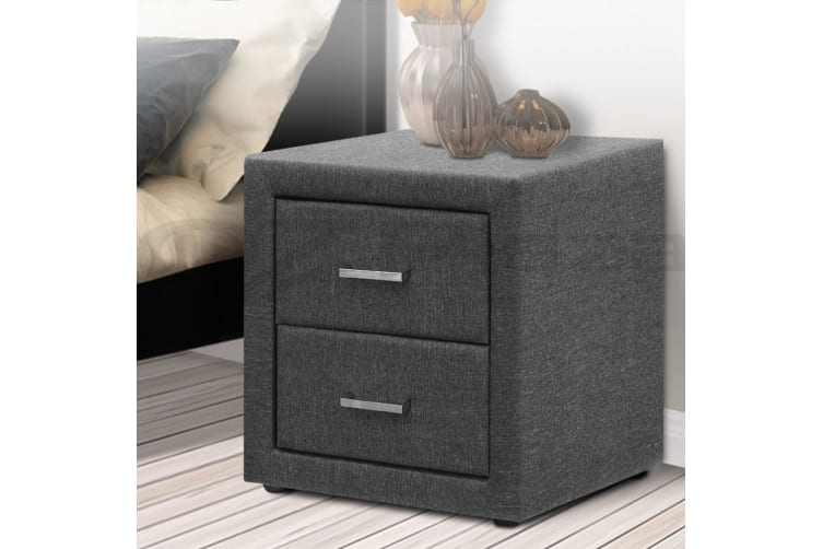 Artiss Bedside Tables Drawers Side Table Storage Cabinet Nightstand Bedroom  Grey
