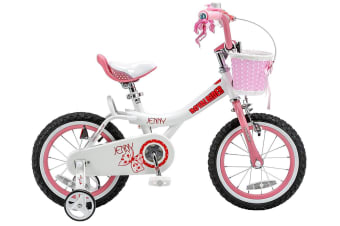 RoyalBaby Girls Kids Bike Jenny 12 14 16 18 20 Inch Bicycle for 3-12 Years Old Child's Cycle with Basket 12-14-16 inch incl Training Wheels or 16-18 inch with Kickstand Bike White Pink