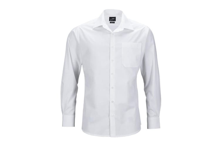 James and Nicholson Mens Longsleeve Business Shirt (White) (S)