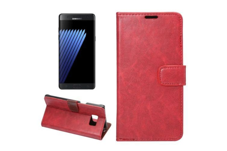 For Samsung Galaxy Note FE Wallet Case Stylish Horse Texture Durable Cover Red