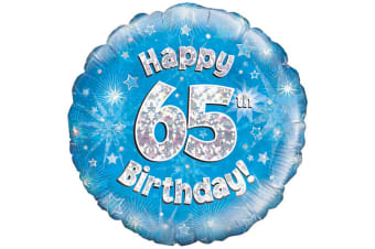 Oaktree 18 Inch Happy 65th Birthday Blue Holographic Balloon (Blue/Silver)