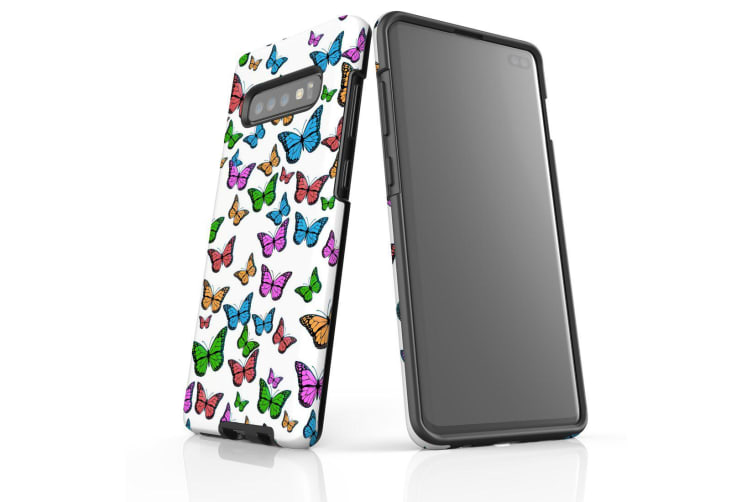 For Samsung Galaxy S10+ Plus Case  Armour Tough Cover  Colourful Butterflies