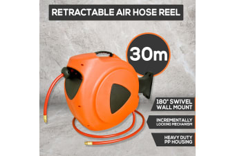New 30m Retractable Air Hose Reel Heavy Duty Wall Mounted Auto Rewind Compressor