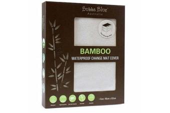 Bubba Blue White Bamboo Change Mat Cover Waterproof