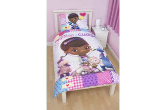 Disney Doc McStuffins Childrens Girls Patch Reversible Duvet Cover Bedding Set (White) (Single Bed)