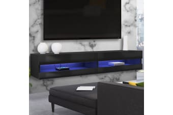 Luxo Vincent 150 cm LED Floating Entertainment Unit - Black