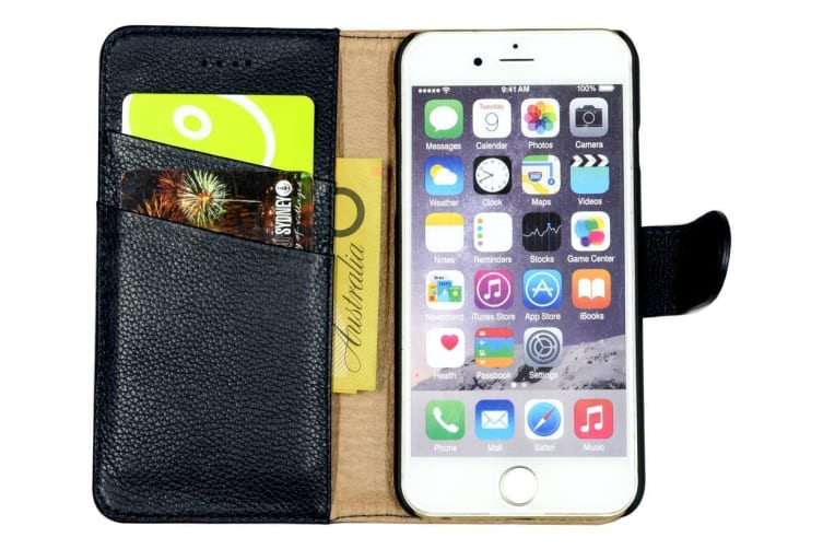 For iPhone 8 7 Wallet Case Fashion Cowhide Durable Genuine Leather Cover Navy