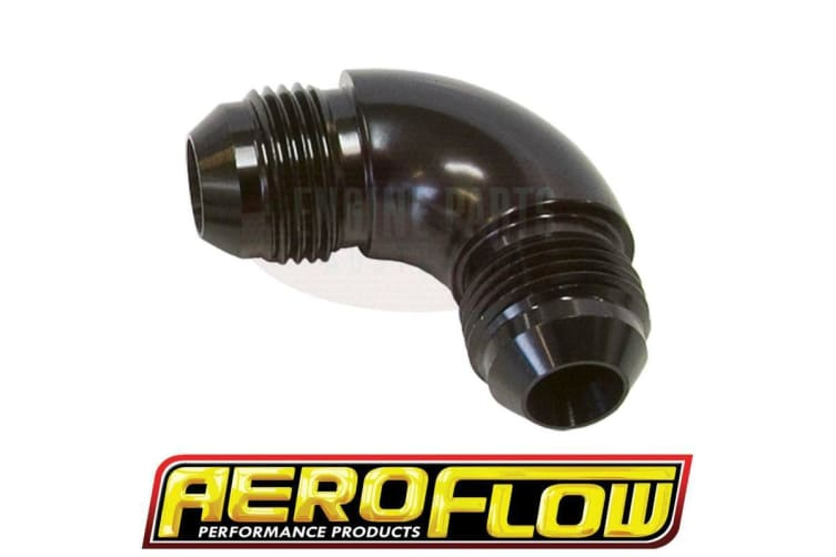 Aeroflow -6AN 90 Deg Male Flare Union Black Full Flow No Restriction