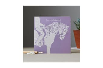 Deckled Edge Colour Block Pony Greetings Card (To A Lovely Friend - Pony and Rider (Light Purple))