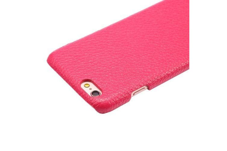 For iPhone 6S 6 Back Case Elegant Protective Genuine Leather Cover Magenta