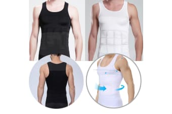 Men's Body Slim Compression Vest Shirt Body Shaper Belly Tummy Trimmer White M  -  WhiteM
