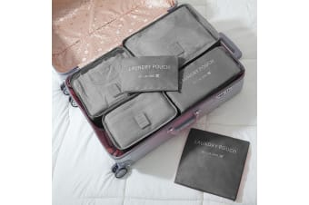 Jet Set 6 Piece Travel Luggage Organizer Storage Cube Pouch Suitcase Packing Bag - Grey