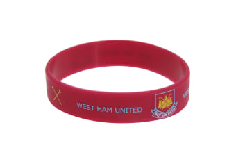 West Ham United FC Official Single Rubber Football Crest Wristband (Maroon)