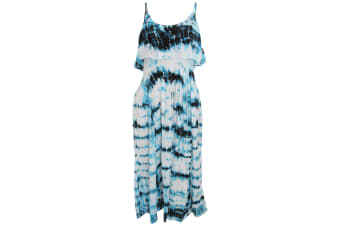 Womens/Ladies Blue Tonal Tie Dye Summer Dress (Blue / Black)
