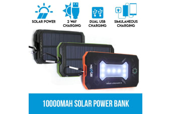 Maxxlee 10000mAh Solar Power Bank Dual USB Battery Charger Portable Flashlight Compass BLACK