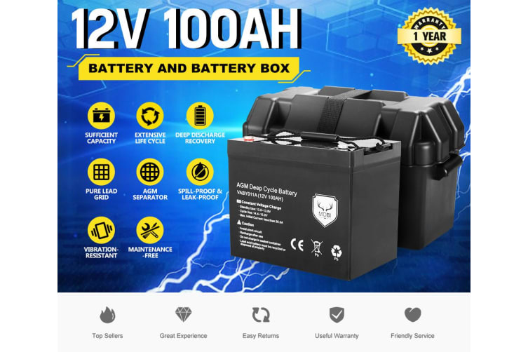 ATEM POWER 12V 135Ah AGM Battery Slim Deep Cycle Battery Sealed Marine Solar with Battery Box