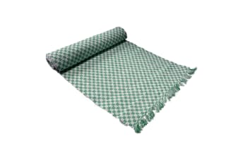 Ribbed Pattern Table Runner Gingham Green by IDC Homewares