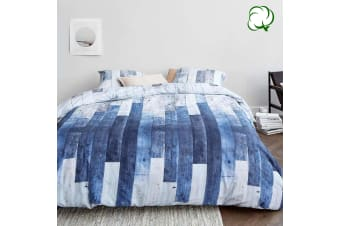 100% Cotton See Blue Grey Quilt Cover Set by At Home